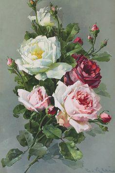 Alenquerensis: Catherine Klein - - A pintora das rosas / Catherine Klein painter of roses. Catherine Klein, Art Floral, Floral Prints, Vintage Rosen, Vintage Art, Rose Pictures, Coming Up Roses, Colorful Roses, Rose Art