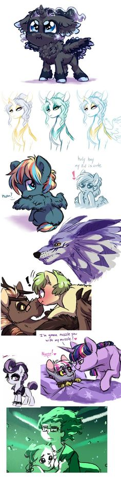 """have some doodles those of you who follow my status updates may have seen some of this stuff before 1.) """"Who art thou calling 'cute'?! I am the night!"""" tiny doofy moon floof floof artemis' feathers..."""