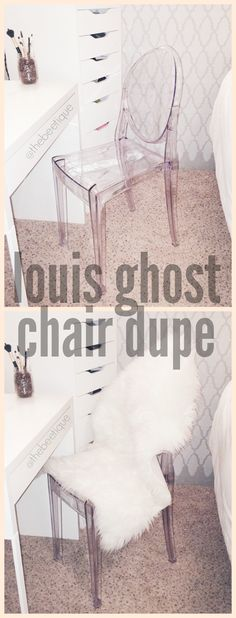 Desk vanity Louis Ghost Chair dupe || Translucent acrylic chairs are so fab for minimal space! Faux fur sheepskin rug on top for accent comfort.  Via thebeetique.blogspot.com