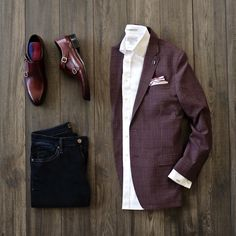 05ecc922d09 Monday business casual combo with a maroon plaid blazer navy denim maroon  double monk shoes maroon