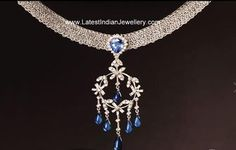 Stunning Platinum Necklace with Diamonds and Sapphires creates the Most Gorgeous Ornament for You