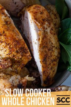 Roast chicken dinner is a classic! So comforting but also versatile, dress it up with all the trimmings for your Sunday lunch or serve with a simple salad for a summer staple. Either way, our recipe for Slow Cooker Whole Chicken produces succulent and tasty meat with minimal fuss from your crockpot. Perfect! Cooking A Roast, Slow Cooker Roast, Slow Cooker Chicken, Slow Cooker Recipes, Crockpot Recipes, Whole Roasted Chicken, Roast Chicken, Stuffed Whole Chicken, Recipe Using Chicken