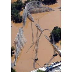 A #SixFlags of #Georgia #rollercoaster rises out of the #flood waters of the #Chattahoochee River in #Atlanta