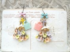 spring easter earrings assemblage basket bunny by lilyofthevally