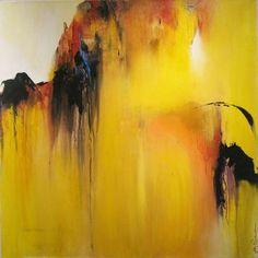 "Joy  Richardson - ""Attachment"" - Acrylic on Canvas #yellow #canaryyellow #movement #art #color"