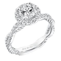 bbf8af63b0594 14K White Gold Contemporary Diamond Halo Engagement Ring with Twisted  Diamond and Rope Shank Round Halo