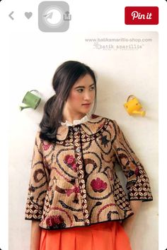 Batik Amarillis's West and girl .The western inspired style of clothing is true staples that will suit and easily combined with your other outfits! This American west outfit style with superb cutting Batik Fashion, Ethnic Fashion, Hijab Fashion, African Fashion, Boho Fashion, Fashion Outfits, Womens Fashion, Fashion Design, Fashion Trends