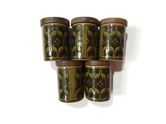 SORRY THESE POTS ARE SOLD. Five green 1973 Hornsea Heirloom small pots by Retrofanattic