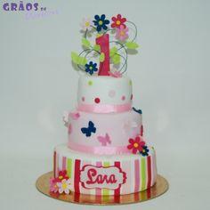 1º Aniversário - Borboletas - Grãos de Açúcar - Bolos decorados - Cake Design