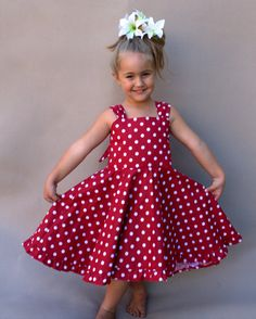 A cute girls red party dress made with red and white polka dots. Your little one will love her twirl dress this summer! The perfect birthday dress with a rockabilly feel to it. Girls Red Party Dress, Little Girl Dresses, Girls Dresses, Toddler Summer Dresses, Red Polka Dot Dress, Polka Dots, New Dress Pattern, Toddler Dress Patterns, Dress With Bow