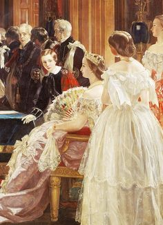 1855 (18 April) Empress Eugénie of France attending the investiture of Napoleon III with the Order of the Garter by Edward Matthew Ward (Royal Collection)