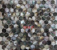 sea shell mosaic mother of pearl  tiles  natural black  grey mesh-joint with seam hexagon original  fashion noble style hot sale
