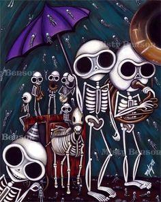 Painting Skelly jazz funeral skeleton art day of by gossamerfaery, $3000.00