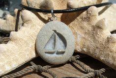 Sailboat Summer Days - engraved Beach Stone Pendant - All natural Ocean pebble