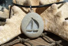 Sailboat Summer Days - engraved Beach Stone Pendant - All natural Ocean pebble