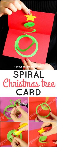 Spiral Christmas Tree Card Idea. Fun Christmas paper craft for kids to make. #Christmascraftsforkids #papercraftsforkids #DIYChristmascard