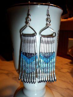Silver Bobby Pin Earrings Fringed Dangle by HeelsOnaShoestring, $12.00