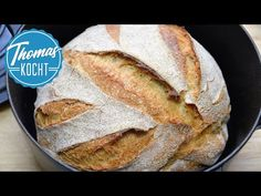 Baking German bread withou kneading / very easy / no knead bread [ENG Subtitles] - Brot backen Baking Bread At Home, German Bread, Paleo Bread, Paleo Pizza, No Knead Bread, Bread Bun, Greek Recipes, German Recipes, French Recipes