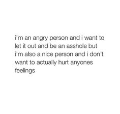 I'm an angry person but I'm also a nice person Angry Person, Me Quotes, Funny Quotes, Let It Out, Totally Me, Literally Me, Describe Me, I Can Relate, How I Feel