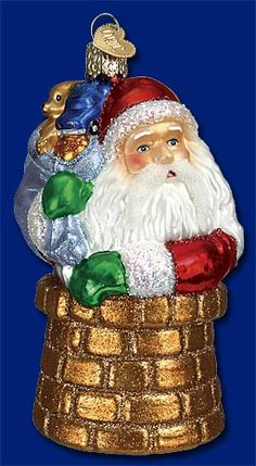 SNOW BLOWER SANTA OLD WORLD CHRISTMAS GLASS SANTA CLAUS WINTER ORNAMENT 40232