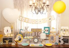 Vintage Silhouettes Gender Reveal party in grey, yellow and aqua