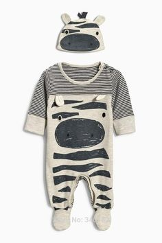Adorable 2 piece outfit for baby! Long sleeve one piece romper and matching hat Cotton material Snaps at leg opening