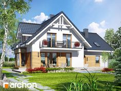 Dom w tamaryszkach 2 Bungalow House Design, Tiny House Living, Home Fashion, Home Interior Design, Facade, Architecture Design, House Plans, Villa, Floor Plans