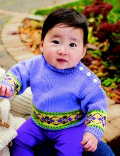 #Baby #sweaters are quick knits, and are always in demand! You can also use this little bit of colorwork on any #knit you want!  Source - Sweaters to Knit for Baby