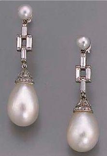 1920's Art Deco Diamond and Pearl Earrings