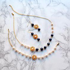 Pearls jewelry set necklace bracelet dangle earrings dark Dark Blue, Blue And White, Black, Dangle Earrings, Beaded Necklace, Pearl Jewelry, Pearl White, Jewelry Sets, Beading