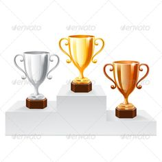 Trophy Set on White Stand