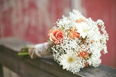 Country/Rustic Bride's Bouquet With Pastel Orange Roses, White Gerbera Daisies & White Baby's Breath Hand Tied With Lace & Burlap>>>>
