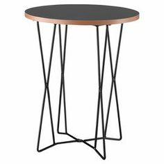 "At home in your living room or den ensemble, this eye-catching end table brings a modern touch to your decor with its geometric metalwork base.    Product: End tableConstruction Material: Engineered wood, metal and melamine veneerColor: Matte black and naturalFeatures: Smooth finishDimensions: 21.75"" H x 17.75"" DiameterNote: Assembly required"