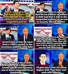 Jon Stewart — Paul Ryan voted for expensive Bush-era policies, later blames national debt on Obama. Jon Stewart Stephen Colbert, John Stewart, John Oliver, Paul Ryan, The Daily Show, Satire, Social Justice, John Green, Atheism