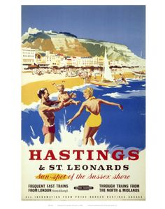 Vintage UK railway travel poster promoting Hastings and St Leonards, Sussex