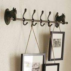 Horse Row of Hooks - eclectic - hooks and hangers - Pottery Barn. Love this idea fro hanging pictures. Perhaps in the nook entering the office! $99