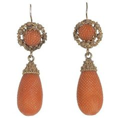 -Victorian carved coral ear pendants.