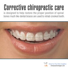 Corrective #chiropractic care is designed to help restore the proper position of spinal bones much like dental braces are used to rehab crooked teeth. http://ChiropracticImages.com