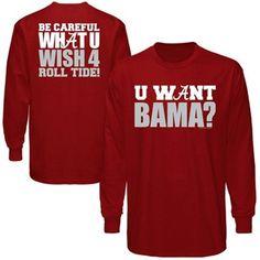 Alabama Crimson Tide What You Wish For Long Sleeve T-Shirt - Crimson, large