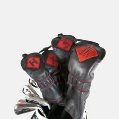 Leather headcovers to protect your drivers, 3-wood, 5-wood, x-wood and hybrid #golf clubs. Choose from black, red or gray! #golfaccessories