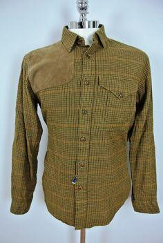$225 Polo Ralph Lauren Cotton/Wool Hunting Shirt w/Leather Shoulder Sz LARGE NWT #PoloRalphLauren #ButtonFront