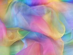 Rainbow Organza Multicolour Organza fabric by TheFabricShopUK
