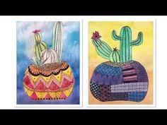 Teken een cactus, draw a cactus