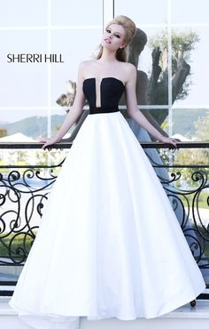 White and black long prom dress
