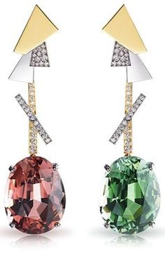 Faberge Dissonance Earrings, 18k white and rose gold, 71 tourmalines, white diamonds and ruby totaling 80.23 carats ht