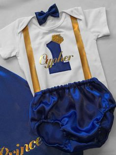 Elite Little prince Personalised Baby boy 1st by BuBBlingBoutique