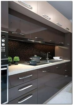 44 Fascinating Kitchen Glass Surfaces Design Ideas - Are you looking for a truly stunning finish to your top spec interior design project? Then look no further than bespoke glass surfaces. These decorati. Kitchen Cabinet Design, Kitchen Interior Design Modern, Kitchen Remodel, Kitchen Decor, Contemporary Kitchen, Kitchen Modular, Kitchen Room Design, Kitchen Furniture Design, Kitchen Design