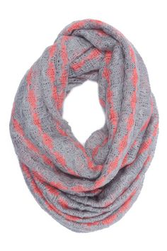 gray and coral infinity scarf