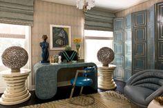 Pied-À-Terre Office #kellywearstler #interiordecor #homedecor #luxuryinteriors #designerfurniture