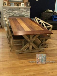 Multi Color Trestle Farm Table, Bench, and Chair Set w/Detachable Breadboard Ends Farmhouse Table With Bench, Farmhouse Kitchen Tables, Rustic Farm Table, Rustic Table And Chairs, Farmhouse Chairs, Dinning Room Tables, Farm Tables, Farm Table Plans, Dining Table Bench